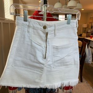 Frame White Denim Skirt
